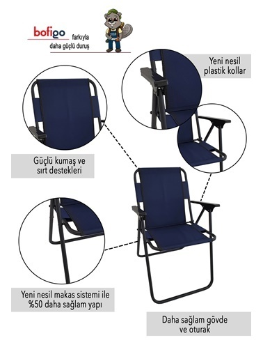 Bofigo Bofigo 4 Adet Kamp Sandalyesi Katlanır Sandalye Piknik Sandalyesi Plaj Sandalyesi Yeşil Lacivert
